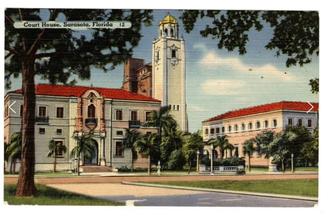 Vintage Postcard of the County Courthouse. By late 1924, the Board of County Commissioners began steps to construct a courthouse for the new county. Charles and Edith Ringling conveyed land for the building. In March 1925, the Commissioners hired nationally renowned architect Dwight James Baum to be the supervising architect. Built in the Mediterranean Revival style by Stevenson and Cameron, Inc., it was completed in February, 1927.